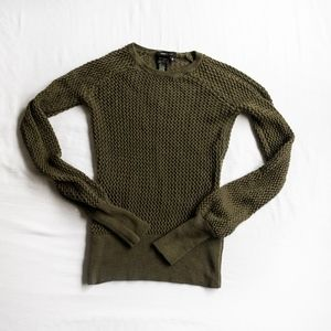 BCBG MAXAZRIA • OPEN CAGE KNIT WOOL SWEATER OLIVE